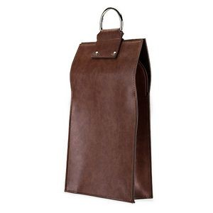 Admiral: Faux Leather Double Bottle Brown Wine Box Tote